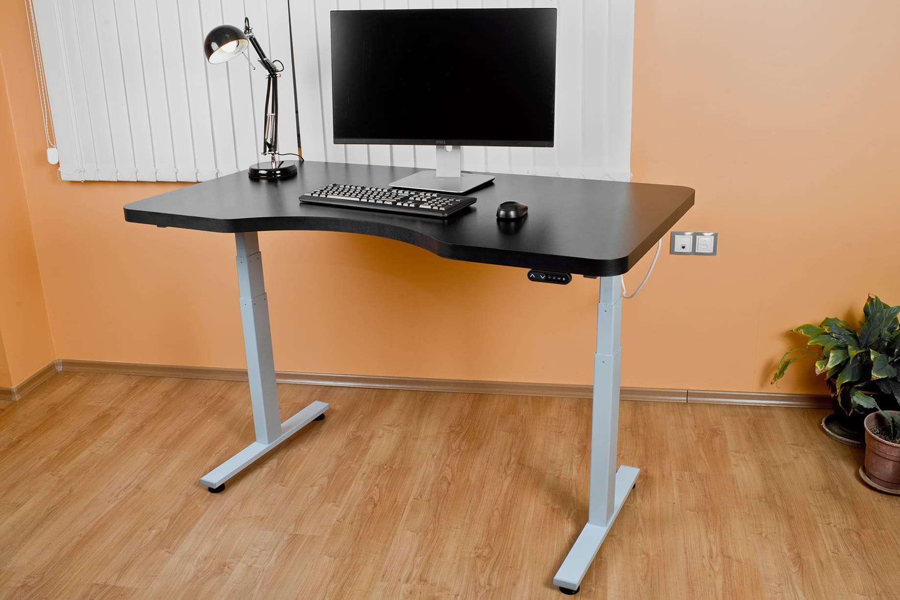 Height adjustable desk BulDesk Pro whit grey base and black worktop