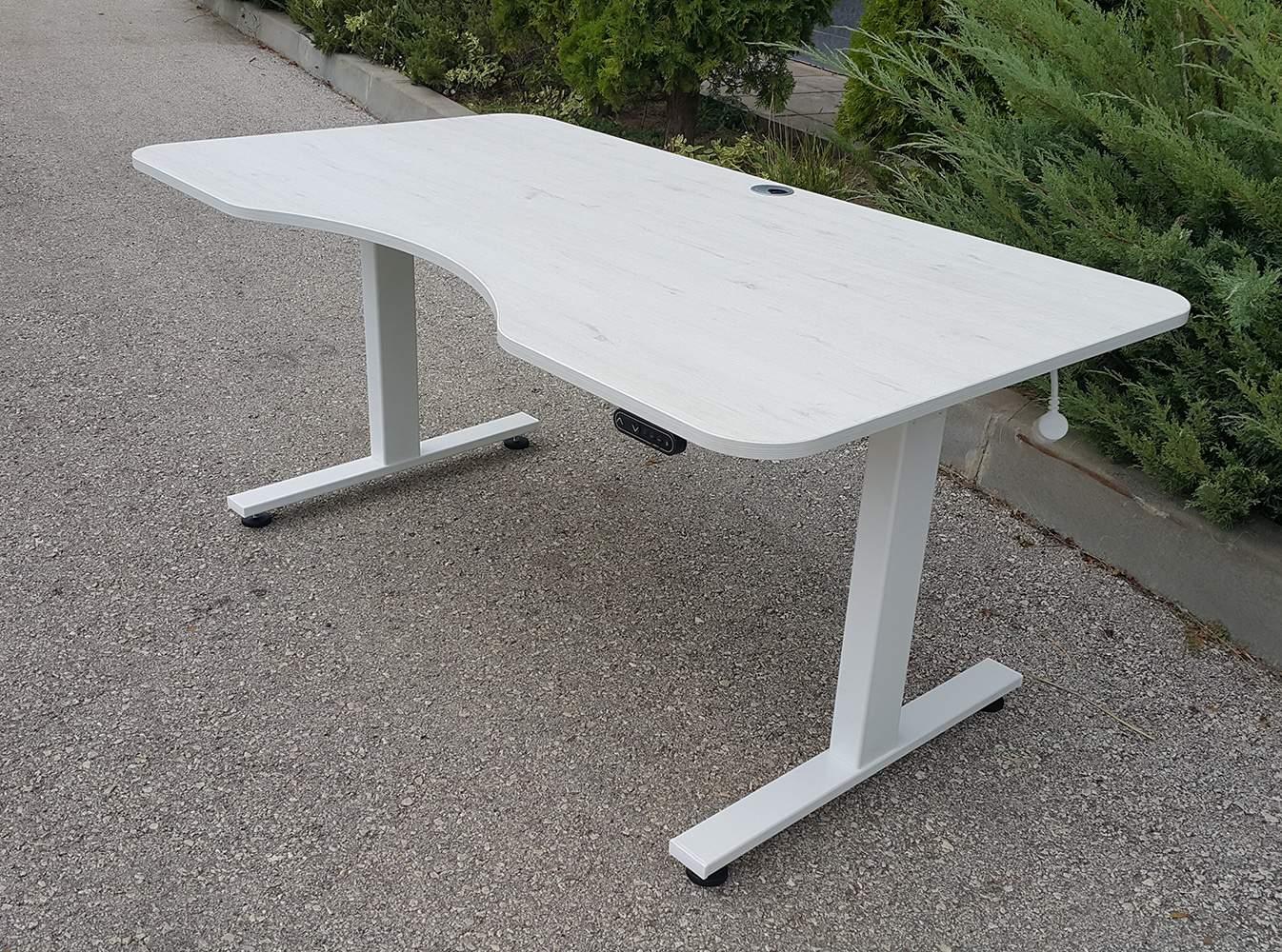 Sit-stand desk BulDesk Pro WHITE with ergonomic shaped worktop Oak Trento