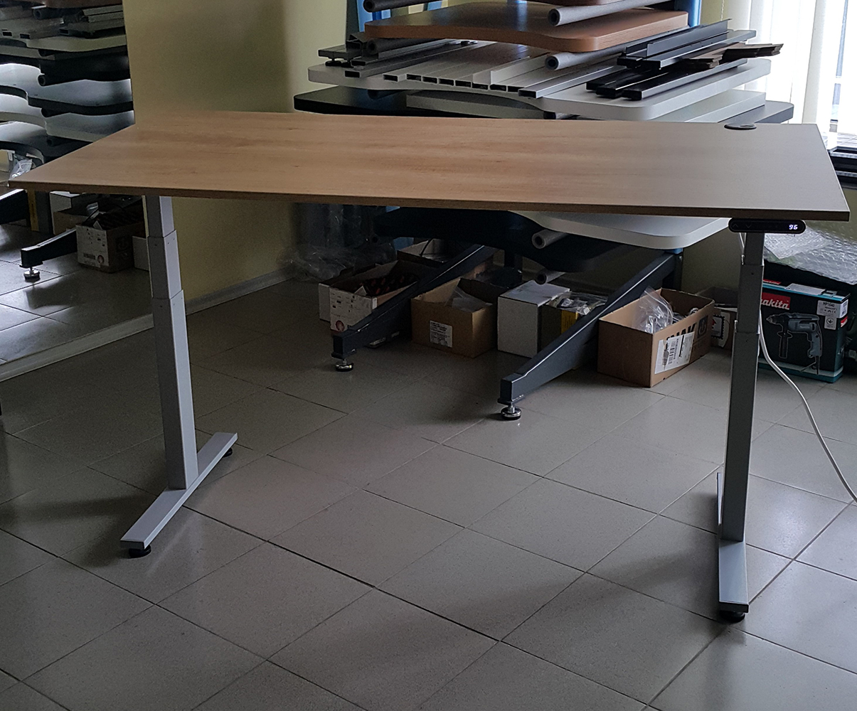 Sit-stand desk BulDesk Pro Grey Base and 18 mm thick worktop oak