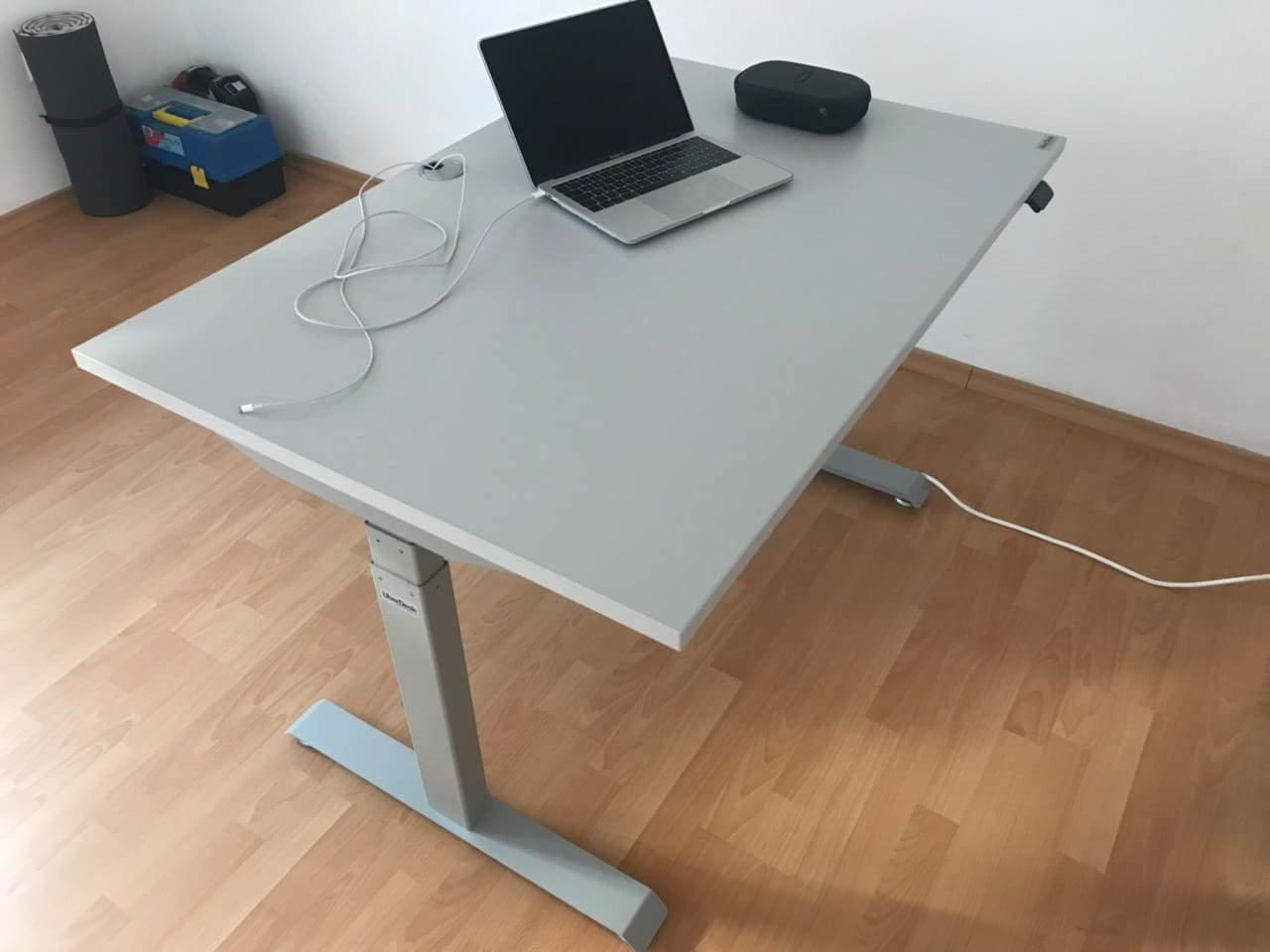 BulDesk Pro grey sit-stand desk
