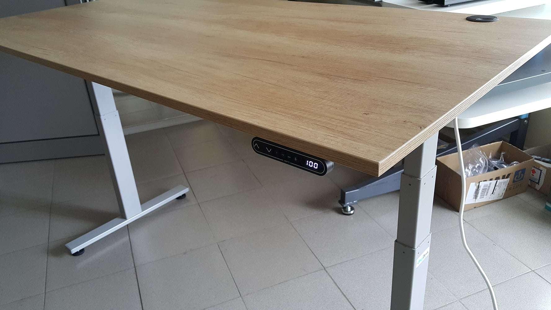 Height ajdjustable desks BulDesk Pro Oak worktop and grey base