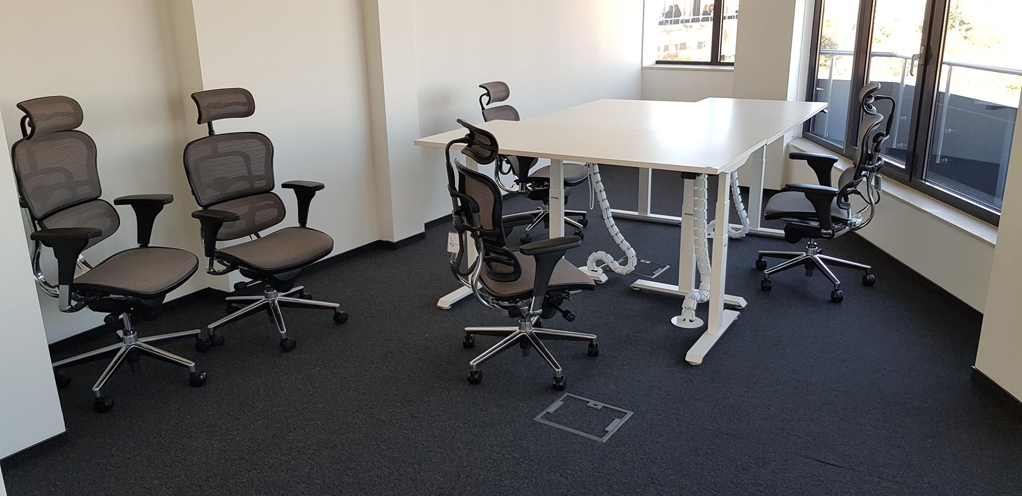 Office with White standing desks BulDesk Pro and office chairs Ergohuman Grey