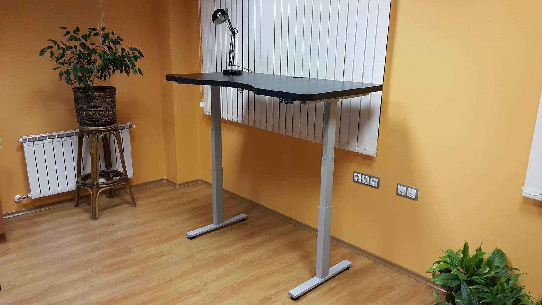 Height ajdjustable desks BulDesk Pro Grey Base and Black worktop