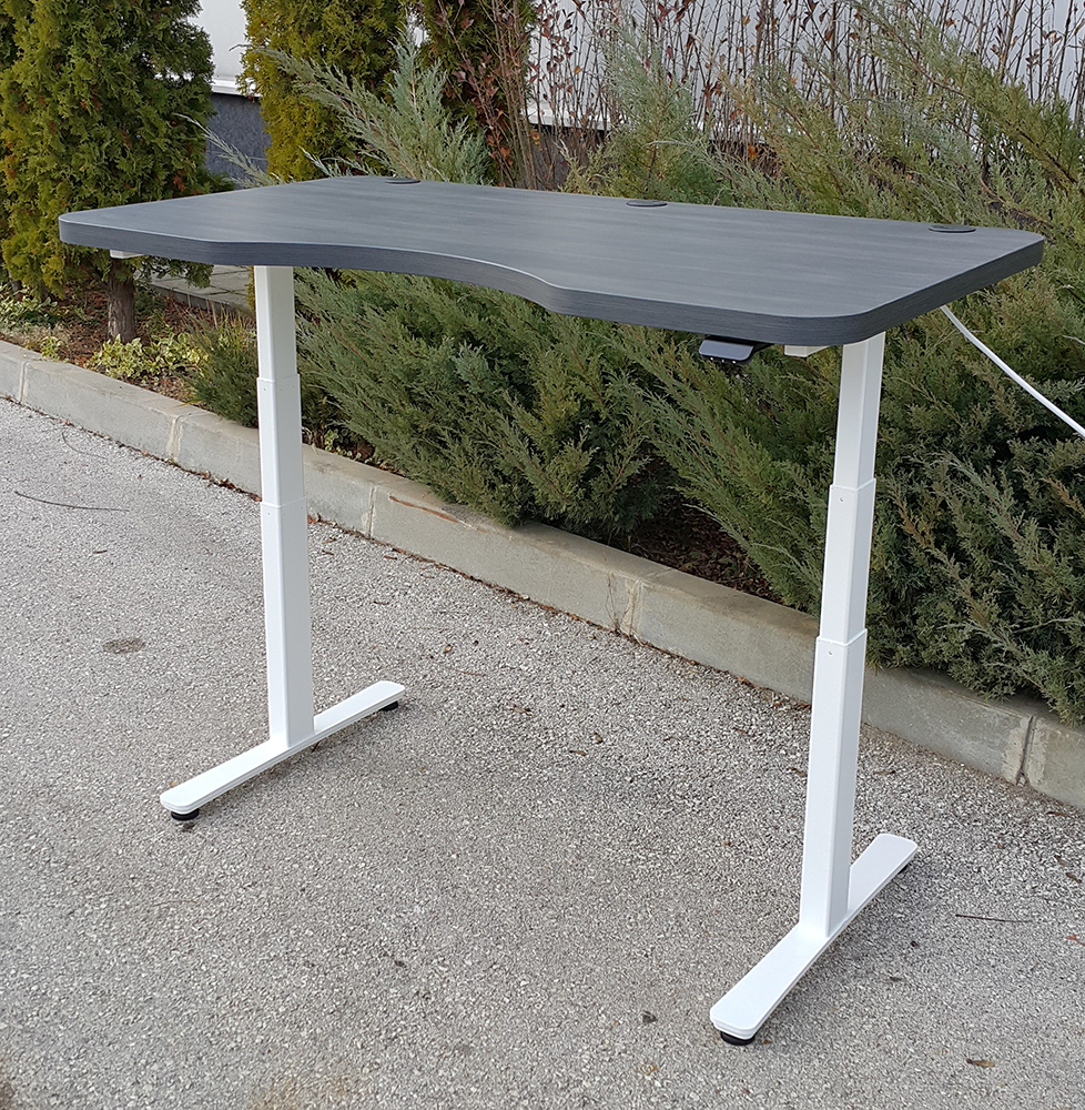 Height adjustable standing desk BulDesk Pro with White base and Grey Wood Worktop
